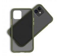 Чехол пластиковый матовый для iPhone 11 (Green Frame)