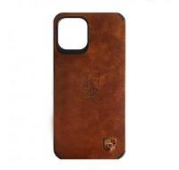 Чехол силиконовый c лого PORSCHE для iPhone 12 Pro Max (Ginger leather)