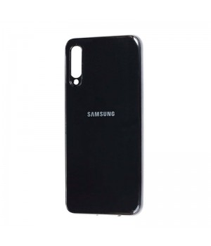 Чехол Leather Case с окантовкой для Samsung Galaxy A70 (Black Leather)