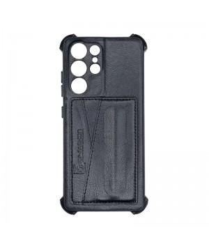 Чехол Creative case Визитка/Подставка для Samsung Galaxy S21 Ultra (Black leather)