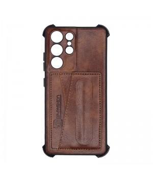 Чехол Creative case Визитка/Подставка для Samsung Galaxy S21 Ultra (Brown leather)
