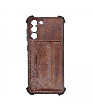 Чехол Creative case Визитка/Подставка для Samsung Galaxy S21 (Brown leather)