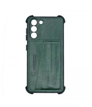 Чехол Creative case Визитка/Подставка для Samsung Galaxy S21 (Green leather)