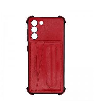 Чехол Creative case Визитка/Подставка для Samsung Galaxy S21 (Red leather)