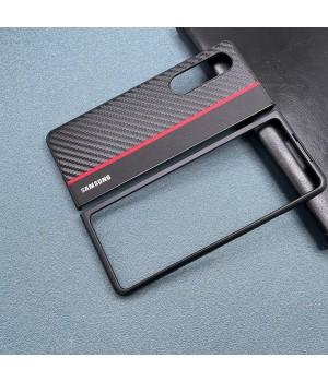 Чехол Carbon Leather Cover для Samsung Galaxy Z Fold 3 (Carbon red stripe)