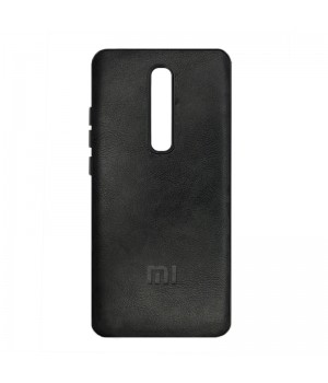 Гелевый чехол для Xiaomi Mi 9T/Mi 9T Pro (Black Leather c лого)