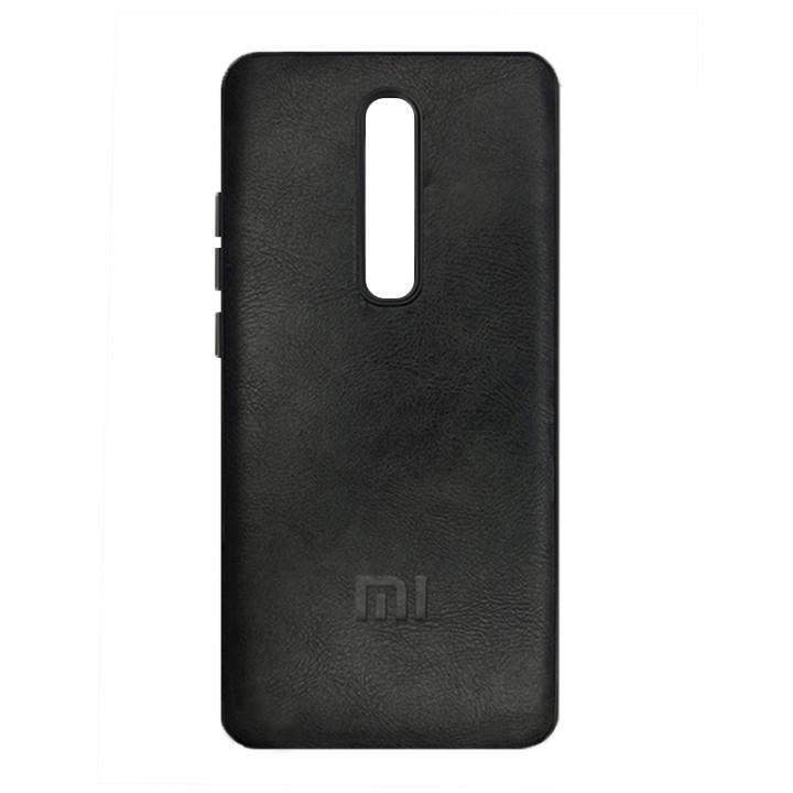 Гелевый чехол для Xiaomi Mi 9T/Mi 9T Pro (Black Leather c лого)