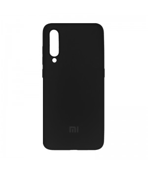 Силиконовый чехол с матовой поверхностью для Xiaomi Mi 9 с лого (Black 2)