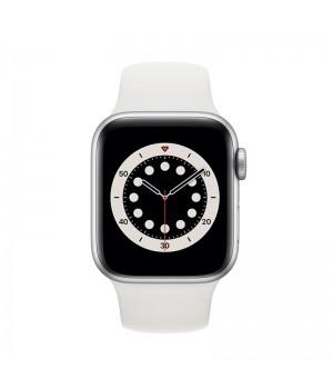 Apple Watch Series 6, 40mm, корпус из алюминия серебристого цвета, спортивный ремешок (Sport Band) белого цвета